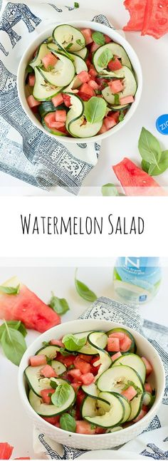 This Watermelon Cucumber Salad is all about fresh summer produce and just 5 ingredients. Watermelon, cucumber, basil and coconut water will hydrate and make you feel refreshed from the inside out. @ZICOCoconut