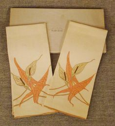MARGHAB CALLA LILY Madeira Guest Towel set Mint in by vintagevasso