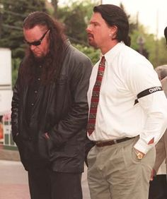 Mark Calaway & John Layfield at Owen Hart's funeral (1999)