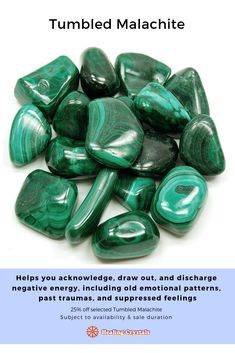 Tumbled Malachite - I was always very weary of Malachite until I started working with it. Malachite has got me through some tough emotional times when I felt incredibly overwhelmed. It's a great emotional healer! Crystals And Gemstones, Stones And Crystals, Gem Stones, Crystal Healing, Quartz Crystal, Tumbled Stones, Chakra Stones, Rocks And Gems, Malachite