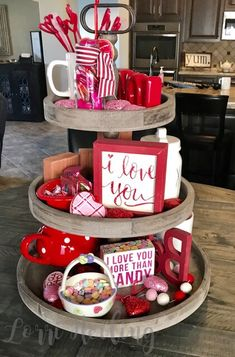 Decorating with Stampin' Up Lorri Heiling 3-tiered tray Rae Dunn Valentine