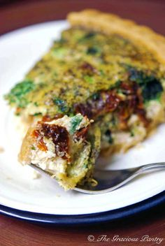 Clean Eating Pesto Quiche With Sun Dried Tomatoes www.TheGraciousPantry.com