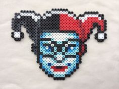 Harley Quinn Perler Bead Sprite for sale by PrettyPixelations! Perler Beads, Perler Bead Art, Fuse Beads, Hama Beads Patterns, Beading Patterns, Pixel Art, Perler Coasters, Art Perle, Motifs Perler
