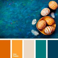 aquamarine color, beige, blue and orange, blue-green, bright orange, color combination for Easter holiday, color of sea water, greenish-blue, palette of flowers for the decor of the table on the feast of Easter, saturated dark orange, shages of orange. Facebook