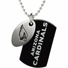 Arizona Cardinals Official NFL Logo Black Dog Tag and Football Medallion Necklace The Men's Jewelry Store. $43.88. Cardinals Engraved on Black Stainless Steel Dog Tag in White Lettering. Arizona Cardinals NFL Logo Impeccably Etched on Brushed Satin Stainless Steel Football Medallion. Football Tag Dimensions are 30mm by 17.25mm or 1.18 Inches High by .68 Inches Wide. 316L Stainless Steel is Hypoallergenic and Gentle on Sensitive Skin. Officially Licensed NFL Fine...