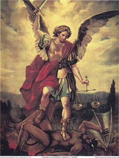 St Michael the Archangel, associated in Brazil with Shango, because of their similarities in iconography (weapons symbolic of the fight against evil; balance symbolic of justice). Archangel Michael Tattoo, St Michael Tattoo, St. Michael, Michael Angel, Angel Images, Angel Pictures, Catholic Art, Religious Art, St Michael Novena
