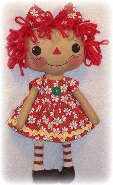 Doll Pattern, Rag Doll Cloth Doll pattern PDF pattern, Sewing, Primitive doll, Raggedy Ann Annie, Instant Download, Digital Download