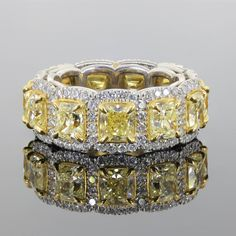 For Sale on - This is an eye popping ring! The band is beautifully hand crafted in white gold and brilliantly set with carats of Fancy Yellow Radiant Cut Diamonds Radiant Cut Diamond, Round Cut Diamond, Diamond Cuts, Modern Wedding Rings, Contemporary Engagement Rings, European Cut Diamonds, White Gold Diamonds, Cushion Wedding Bands, Royal Jewelry