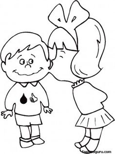 Printable Valentines Day Girl kissing boy coloring pages - Printable Coloring Pages For Kids