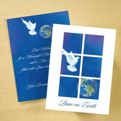 Holiday Cards - Dove and Globe Holiday Card | Occasions In Print, LLC (Card Link - http://occasionsinprint.carlsoncraft.com/Holiday/Shop-All-Holiday/YM-YM27652FCP-Dove-and-Globe-Holiday-Card.pro)