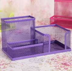 Purple Metal Mesh Desk Organizer Desktop Pencil Holder Storage Box Container  #Unbranded