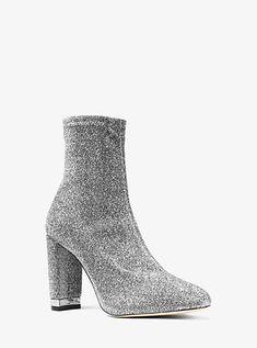 e1fc7bf221b Mandy Glitter Stretch-Knit Ankle Boot Blok Hakken, Enkelbandjes, Victoria  Beckham, Versace