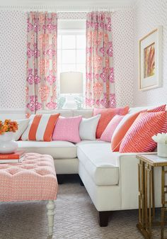 Madison Sectional in Orion woven fabric in Snow White and Bentley Ottoman in Santa Monica printed fabric in Orange from Thibaut Fine Furniture