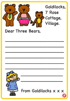 Goldilocks Letter to the Three Bears Writing Frame. For more Goldilocks and the Three Bears resources see www.justteachit.co.uk