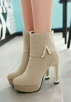 Ankle Boots Beige, High Heel Boots, Heeled Boots, Shoe Boots, High Heels, Shoes Heels, Dress Shoes, Pretty Shoes, Cute Shoes