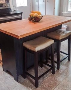DIY kitchen island with bar seating from an old dresser