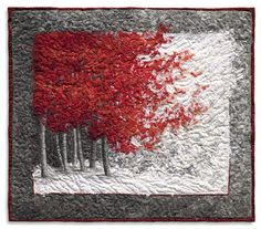 Amazing art quilt by Lorraine Roy. Red Maple 2008 28X32 Wall mounted quilt