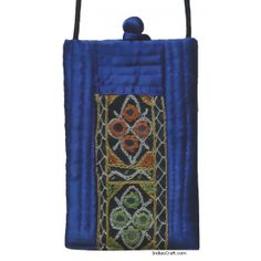 hand embroidered traditional NAVY BLUE color attractive dual pocket #mobilecover #pouch having mirror work with attached string made of SILK COTTON fabric.