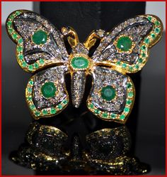 """""""Swallowtail"""" Price: $600    Butterfly! 7.92ct ROSE CUT DIAMOND EMERALD VICTORIAN BROOCH ♥    Signature Victorian Collection....known for its international taste and appeal!    Imported, world-class quality, not pre-owned, not pawned, not stolen. WE DELIVER WORLDWIDE ♥"""