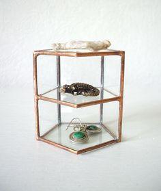 Silver Glass Jewelry Case jewelry box jewelry storage jewelry