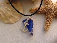 Blue Sea Glass necklace w/ anchor charm
