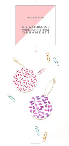 Create easy DIY paper Christmas ornaments in this tutorial.Created using watercolor,these Christmas ornaments are unique in every way.Make your holidays fun Paper Christmas Ornaments, Christmas Crafts, Easy Ornaments, Christmas Tree, Natural Christmas, Modern Christmas, Pink Christmas, Crafts For Kids To Make, How To Make Diy