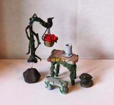 Fairy garden furniture--shepherd's hook, table (jasper and clay), mushroom and stone bench (clay)
