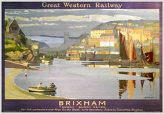 An poster sized print, approx mm) (other products available) - Great Western Railway poster. Artwork by Gyrth Russell. View of harbour and town. 1017 x - Image supplied by National Railway Museum - poster sized print mm) made in the UK Train Posters, Railway Posters, British Travel, National Railway Museum, Great Western, Vintage Travel Posters, Vintage Ski, Poster Vintage, Photographic Prints