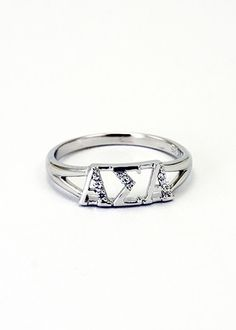 Alpha Sigma Alpha Sterling Silver Ring set with Lab-Created Diamonds SALE $39.95. - Greek Clothing and Merchandise - Greek Gear®