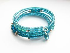 Turquoise Bracelet Aqua Blue Memory Wire by BecauseofAnnie