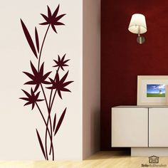 Wall Stickers Bouquet of leaves Simple Wall Paintings, Creative Wall Painting, Wall Painting Decor, Mural Wall Art, Creative Walls, Diy Wall Art, Home Decor Wall Art, Wall Art Designs, Wall Design