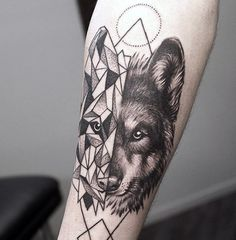 Geometrical Wolf Tattoo On Forearm