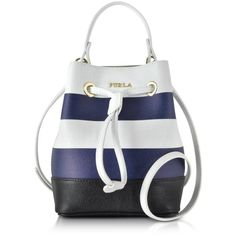 Furla Handbags Stacy Chalk & Navy Blue Striped Leather Bucket Bag ($335) ❤ liked on Polyvore featuring bags, handbags, shoulder bags, genuine leather, white shoulder bag, leather hand bags, navy blue leather handbag, drawstring bucket bag and handbags shoulder bags