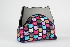 Resin frame clutch bag - Colorful cats on navy blue - Cat purse / Cat ears / Black frame / pink purple blue kitties / Cute cat faces