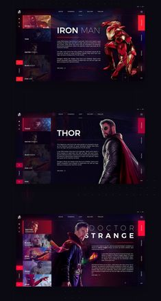 Infinity War - Web Site Concept Design on Behance Web Ui Design, Design Blog, Page Design, Flat Design, Website Design Inspiration, Web Layout, Layout Design, Affinity Designer, Ui Web