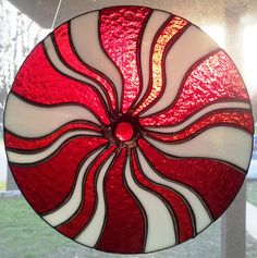 """12"""" Custom-made Red & White Swirled Stained Glass Peppermint Twist in White Stripes Style for the Holiday."""