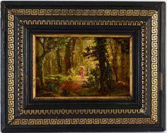 """Alfred KEIL (1850-1907) Escola Européia - """"Figura Feminina no Bosque"""" óleo sobre cartão, 11"""