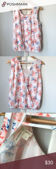 Anthropologie Meadow Rue floral open back blouse Back has crossover style with cutout. Front has standard crewneck. Brand new never worn but price tags have been removed Anthropologie Tops