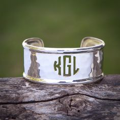 Cut Out Monogram Rimmed on Silver 1.0 – Rustic Cuff