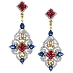 WEBSTA @ jewelrynewsnetwork - The latest from #featuredartist @zorabcreation,18k gold and palladium earrings with blue sapphire and white and yellow diamonds.