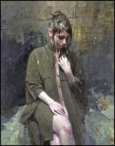 """The Black Robe"" - Jeremy Mann (b. 1979), oil on panel {figurative #impressionist art discreet semi-nude female seated woman torso painting #2good2btrue} redrabbit7.com"