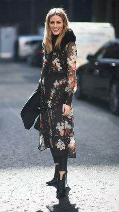 Dark floral #Streetstyle Sheer black dress overblack leggings