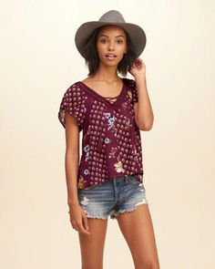 Print Mix Flutter-Sleeve Lace-Up Top