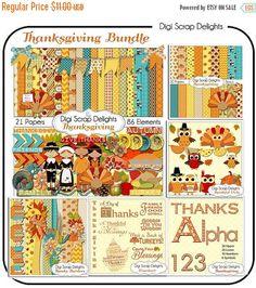 50% OFF TODAY Thanksgiving Bundle Save 50 Percent Scrapbook Kit w Turkey, Pilgrim, Pumpkin, Owls, Word Art, Alpha, Borders , Fall Cards,   #scrapbooking #fall #autumn #digiscrapdelights #thanksgiving