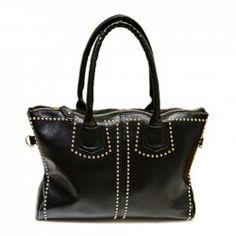 $14.00 Street Level Women's Handbag With Black Rivets and PU Leather Design