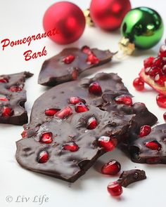 Chocolate Pomegranate Bark: Melted dark chocolate, Fresh Pomegranate aerials (seeds), Sprinkle of flake salt  Mix a handful of pomegranate seeds into the dark chocolate and stir gently to combine. Spread mix, sprinkle lightly with salt, and allow the chocolate to set.  Carefully cool then break into pieces and serve.
