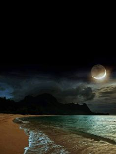 The tranquility of the night # sky Moonlight Photography, Moon Photography, Moon Pictures, Nature Pictures, Beautiful Moon, Beautiful Places, Eclipse Lunar, Shoot The Moon, Moon Art