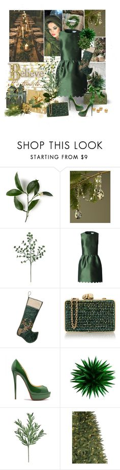 """Green Christmas"" by sheri-gifford-pauline ❤ liked on Polyvore featuring Sage & Co., H&M, RED Valentino, MacKenzie-Childs, Wilbur & Gussie, Martha Stewart, Order Home Collection, Ultimate, Christmas and GREEN"