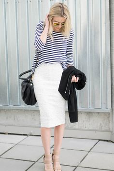 Striped top & white pencil skirt