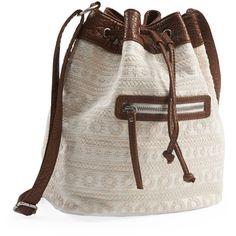 Aeropostale Crocheted Bucket Bag (57 BRL) ❤ liked on Polyvore featuring bags, handbags, shoulder bags, cream, brown bucket bag, brown purse, brown handbags, canvas handbags and canvas bucket bag
